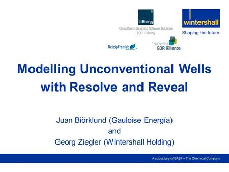 Modelling Unconventional Wells with Resolve and Reveal Juan Biörklund (Gauloise Energía) and Georg Ziegler (Wintershall Holding)