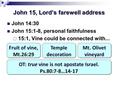 John 15, Lord's farewell address John 14:30 John 15:1-8, personal faithfulness  15:1, Vine could be connected with... Fruit of vine, Mt.26:29 Fruit of.