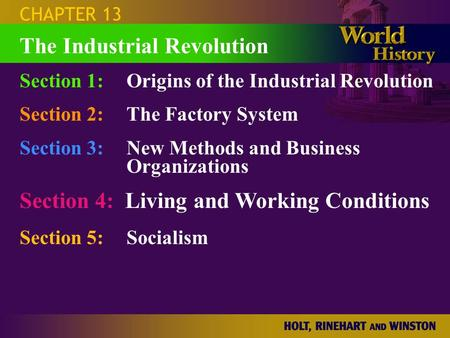 CHAPTER 13 Section 1:Origins of the Industrial Revolution Section 2:The Factory System Section 3:New Methods and Business Organizations Section 4: Living.