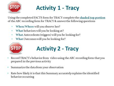 Activity 1 - Tracy Using the completed FACTS form for TRACY complete the shaded top portion of the ABC recording form for TRACY & answer the following.