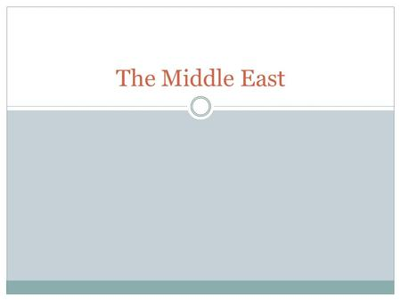 The Middle East. The Middle East: 6 major themes Proof of a European centered division of the East 10 countries We will further discuss all themes as.