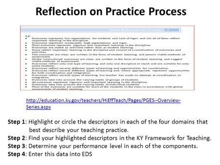 Reflection on Practice Process  Series.aspx Step 1: Highlight or circle the descriptors.