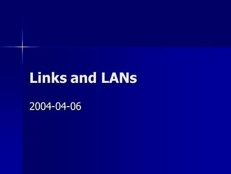 Links and LANs 2004-04-06. Link between two computers via cross cable The most simple way to connect two hosts is to link the two hosts with a cross cable.