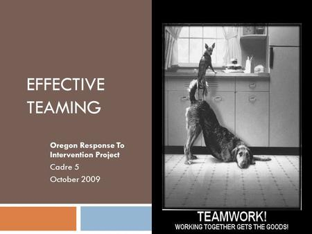 EFFECTIVE TEAMING Oregon Response To Intervention Project Cadre 5 October 2009.