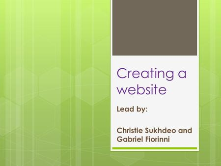 Creating a website Lead by: Christie Sukhdeo and Gabriel Fiorinni.