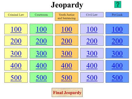 Jeopardy 100 200 300 400 500 100 200 300 400 500 100 200 300 400 500 100 200 300 400 500 100 200 300 400 500 Criminal LawCourtroomYouth Justice and Sentencing.