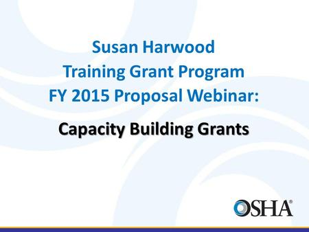 Training Grant Program Capacity Building Grants