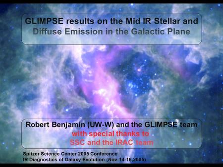 Robert Benjamin (UW-W) and the GLIMPSE team with special thanks to