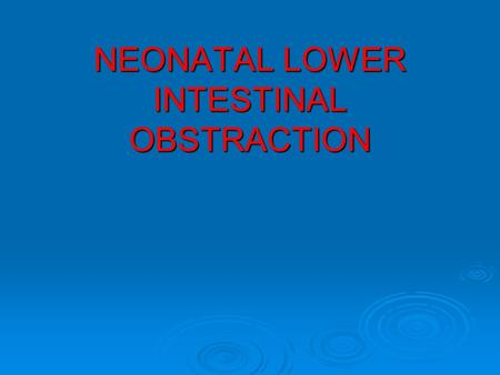 NEONATAL LOWER INTESTINAL OBSTRACTION. Lower GI Obstraction.
