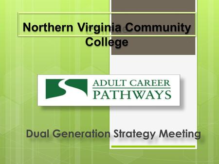 Dual Generation Strategy Meeting. About NOVA & ACP Vision/Mission  Deliver world-class in-person and online post-secondary teaching, learning, and workforce.