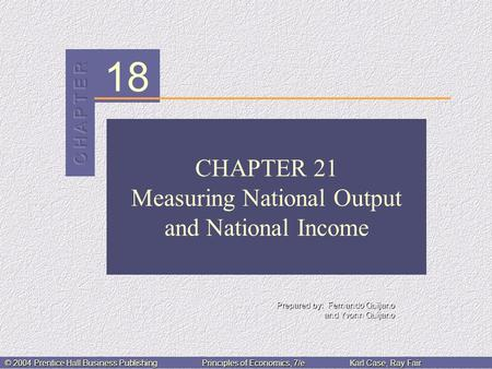 18 Prepared by: Fernando Quijano and Yvonn Quijano © 2004 Prentice Hall Business PublishingPrinciples of Economics, 7/eKarl Case, Ray Fair CHAPTER 21 Measuring.