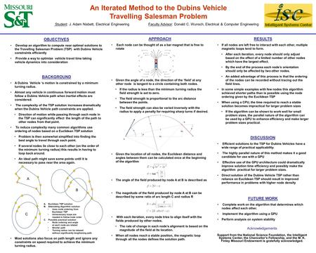 An Iterated Method to the Dubins Vehicle Travelling Salesman Problem OBJECTIVES Develop an algorithm to compute near optimal solutions to the Travelling.