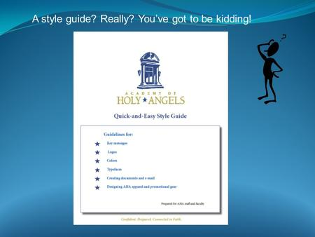 A style guide? Really? You've got to be kidding!.