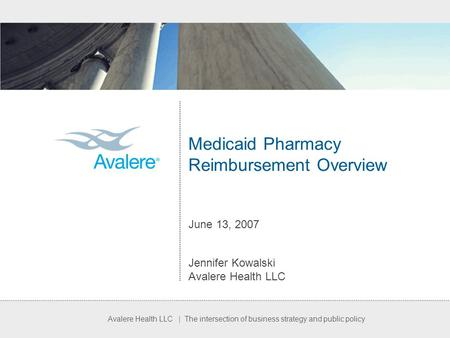 Avalere Health LLC | The intersection of business strategy and public policy Medicaid Pharmacy Reimbursement Overview June 13, 2007 Jennifer Kowalski Avalere.