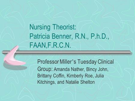Nursing Theorist: Patricia Benner, R.N., P.h.D., FAAN,F.R.C.N. Professor Miller ' s Tuesday Clinical Group: Amanda Nather, Bincy John, Brittany Coffin,