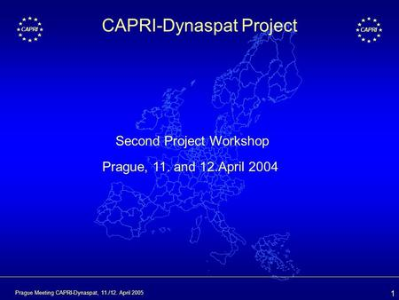 1 CAPRI Prague Meeting CAPRI-Dynaspat, 11./12. April 2005 CAPRI-Dynaspat Project Second Project Workshop Prague, 11. and 12.April 2004.