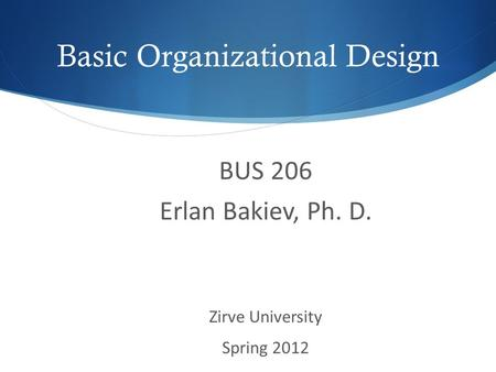 Basic Organizational Design BUS 206 Erlan Bakiev, Ph. D. Zirve University Spring 2012.