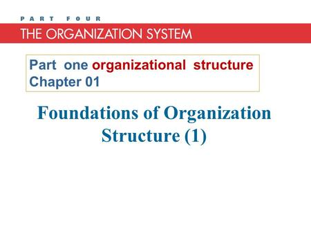 Foundations of Organization Structure (1) Part one organizational structure Chapter 01.