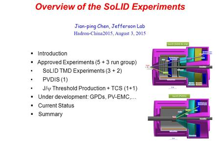 Overview of the SoLID Experiments Jian-ping Chen, Jefferson Lab Hadron-China2015, August 3, 2015  Introduction  Approved Experiments (5 + 3 run group)