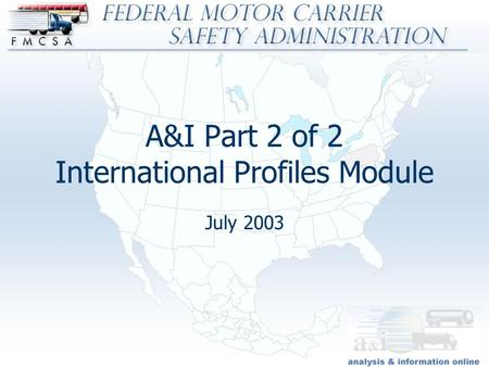 An introduction to the federal motor carrier safety for Federal motor carrier administration