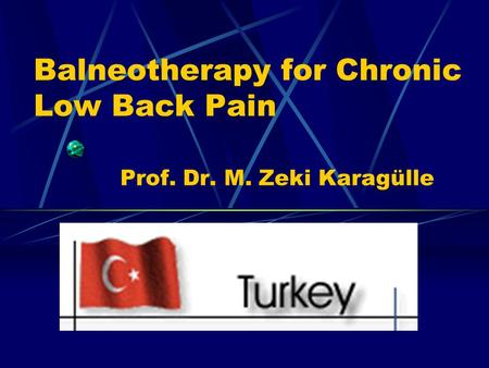 Balneotherapy for Chronic Low Back Pain Prof. Dr. M. Zeki Karagülle.