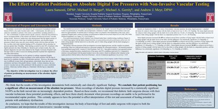 The Effect of Patient Positioning on Absolute Digital Toe Pressures with Non-Invasive Vascular Testing Laura Sansosti, DPM a, Michael D. Berger b, Michael.