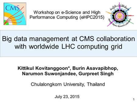 1 Kittikul Kovitanggoon*, Burin Asavapibhop, Narumon Suwonjandee, Gurpreet Singh Chulalongkorn University, Thailand July 23, 2015 Workshop on e-Science.