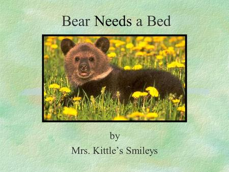 Bear Needs a Bed by Mrs. Kittle's Smileys. It was a cold winter day in the woods. The snowflakes were falling. A bear was wondering all around when he.