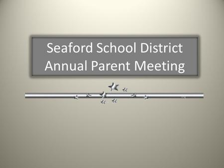 Seaford School District Annual Parent Meeting 1. Title I Funding and Programs Parent Meeting Agenda Title I Program Presentation Document Review Parent.