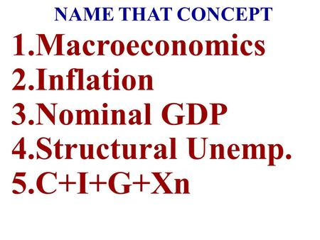 Macroeconomics Inflation Nominal GDP Structural Unemp. C+I+G+Xn