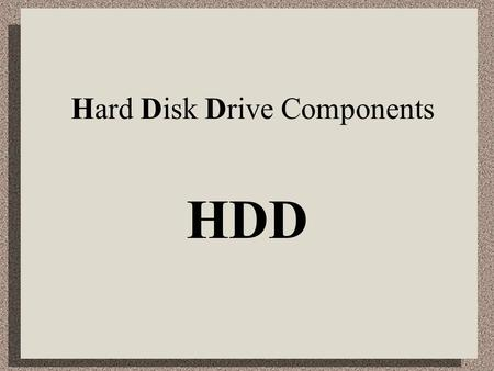 Hard Disk Drive Components