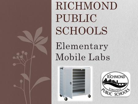 Elementary Mobile Labs RICHMOND PUBLIC SCHOOLS. Training Plan ITRTs are trained APs are trained AP and principal sets up a date NEXT WEEK for the ITRT.