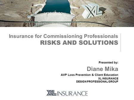 Insurance for Commissioning Professionals RISKS AND SOLUTIONS Presented by: Diane Mika AVP Loss Prevention & Client Education XL INSURANCE DESIGN PROFESSIONAL.
