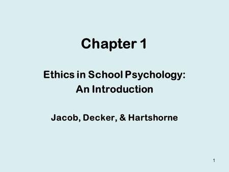 Ethics in School Psychology: Jacob, Decker, & Hartshorne