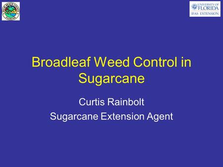 Broadleaf Weed Control in Sugarcane Curtis Rainbolt Sugarcane Extension Agent.