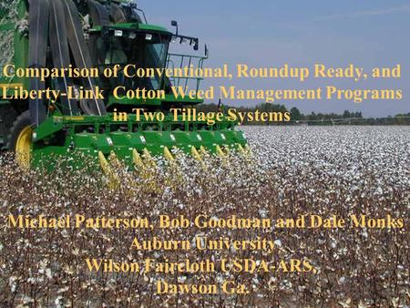 Comparison of Conventional, Roundup Ready, and Liberty-Link Cotton Weed Management Programs in Two Tillage Systems Michael Patterson, Bob Goodman and Dale.