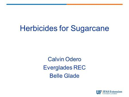 Herbicides for Sugarcane Calvin Odero Everglades REC Belle Glade.