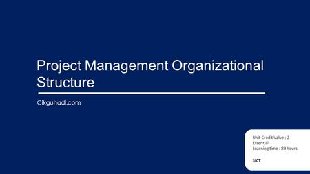 Project Management Organizational Structure SICT Unit Credit Value : 2 Essential Learning time : 80 hours Cikguhadi.com.