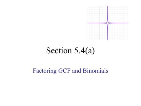 Factoring GCF and Binomials