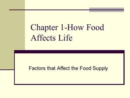 Chapter 1-How Food Affects Life Factors that Affect the Food Supply.