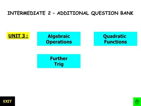 INTERMEDIATE 2 – ADDITIONAL QUESTION BANK UNIT 3 : Further Trig Algebraic Operations Quadratic Functions EXIT.