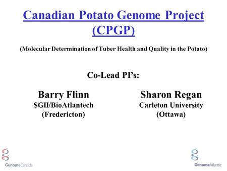 Canadian Potato Genome Project (CPGP) (Molecular Determination of Tuber Health and Quality in the Potato) Barry Flinn SGII/BioAtlantech (Fredericton) Sharon.