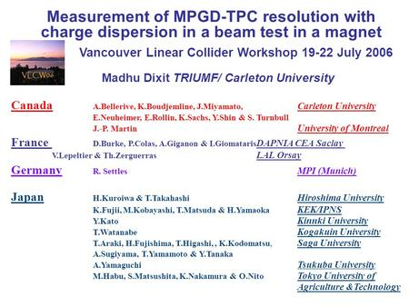 Measurement of MPGD-TPC resolution with charge dispersion in a beam test in a magnet Madhu Dixit TRIUMF/ Carleton University Canada A.Bellerive, K.Boudjemline,