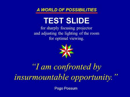 """I am confronted by insurmountable opportunity."" Pogo Possum TEST SLIDE for sharply focusing projector and adjusting the lighting of the room for optimal."