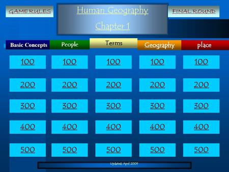 Updated: April 2009 Human Geography Chapter 1 Basic Concepts place Terms Geography People 100 200 300 400 500 100 200 300 400 500 GAME RULESFINAL ROUND.