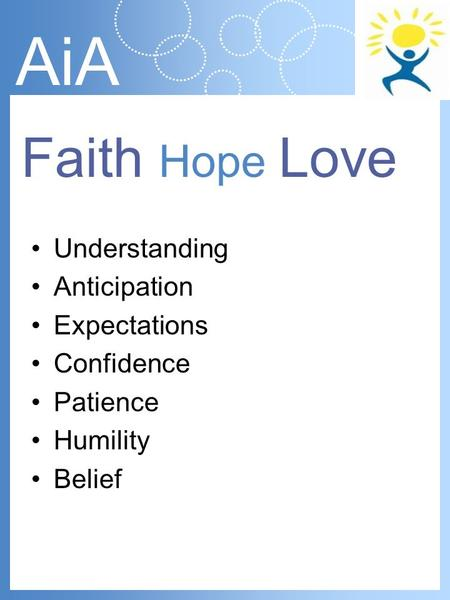 AiA Understanding Anticipation Expectations Confidence Patience Humility Belief Faith Hope Love.