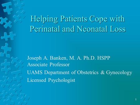 1 Helping Patients Cope with Perinatal and Neonatal Loss Joseph A. Banken, M. A. Ph.D. HSPP Associate Professor UAMS Department of Obstetrics & Gynecology.