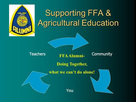 Community You Teachers FFA Alumni- Doing Together, what we can't do alone! Supporting FFA & Agricultural Education.