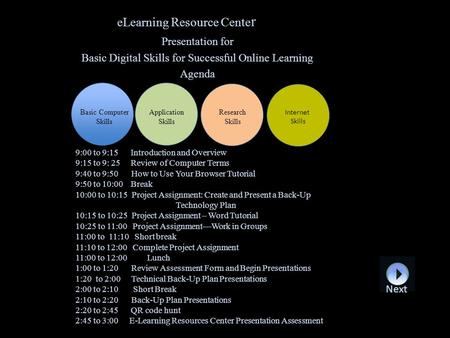 ELearning Resource Cente r Presentation for Basic Digital Skills for Successful Online Learning Agenda Basic Computer Skills Application Skills Research.
