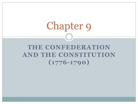 THE CONFEDERATION AND THE CONSTITUTION (1776-1790) Chapter 9.
